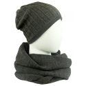 Komplet damski prążkowana czapka i szalik komin - ciemnoszary