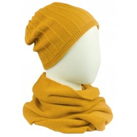 Komplet damski prążkowana czapka i szalik komin - miodowy żółty