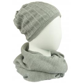 Komplet damski prążkowana czapka i szalik komin - jasnoszary