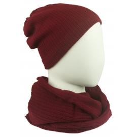 Komplet damski Sally czapka na polarze i komin - bordowy