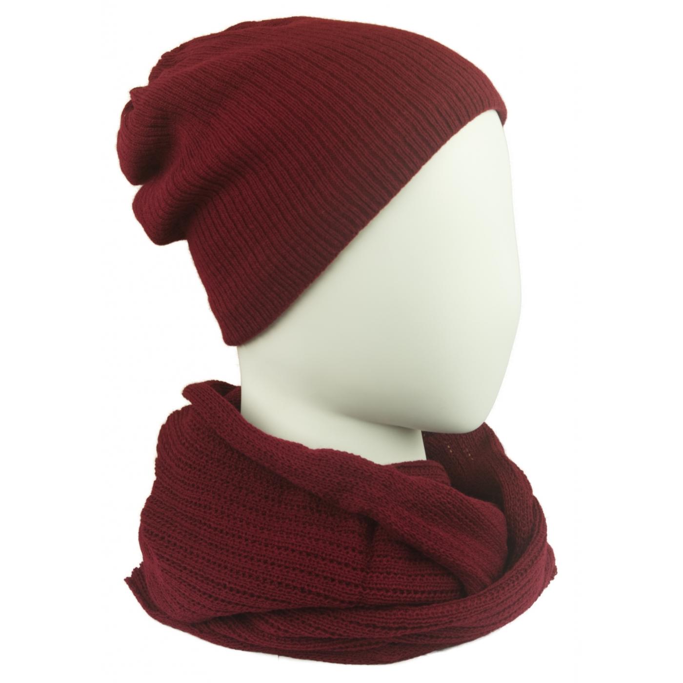 Komplet damski czapka na polarze i komin - bordowy