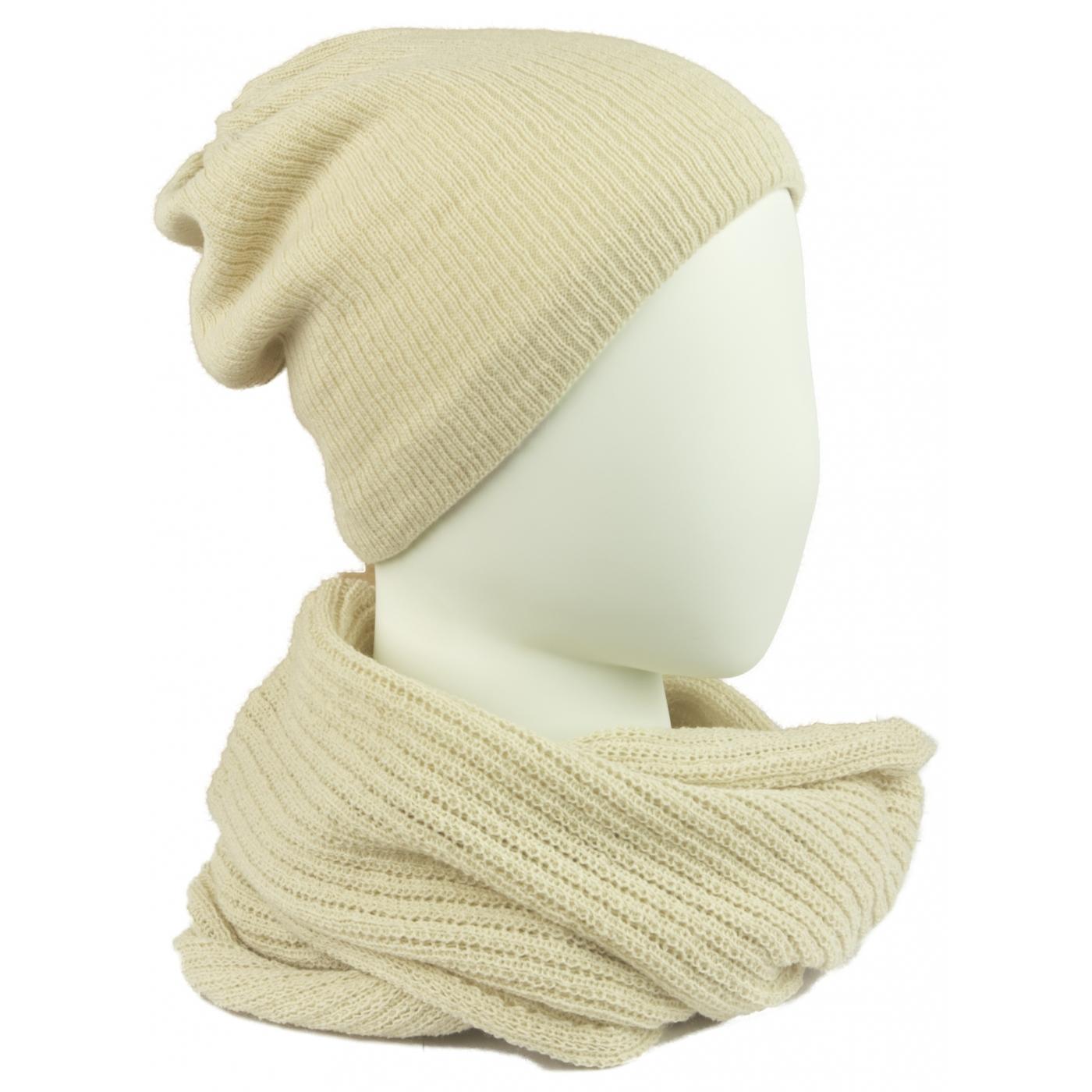 Komplet damski czapka na polarze i komin - beżowy