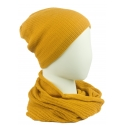 Komplet damski czapka na polarze z pomponem i komin - musztardowy
