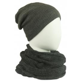 Komplet damski czapka na polarze i komin - grafitowy