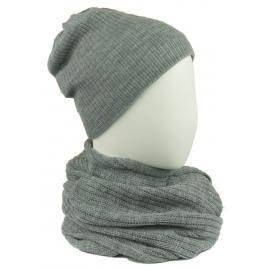 Komplet damski czapka na polarze i komin - popielaty