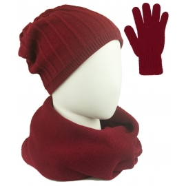 Komplet prążkowana czapka, szalik komin i rękawiczki - bodowy