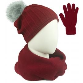 Komplet prążkowana czapka z pomponem, szalik komin i rękawiczki - bordowy