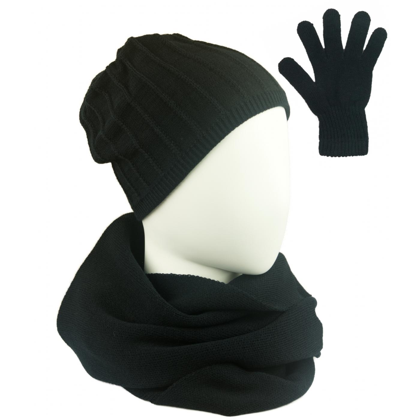 Komplet prążkowana czapka, szalik komin i rękawiczki - czarny