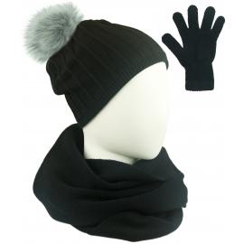 Komplet prążkowana czapka z pomponem, szalik komin i rękawiczki - czarny