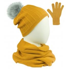 Komplet prążkowana czapka z pomponem, szalik komin i rękawiczki - żółty