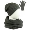 Komplet prążkowana czapka, szalik komin i rękawiczki - grafitowy