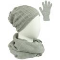 Komplet prążkowana czapka, szalik komin i rękawiczki - szary