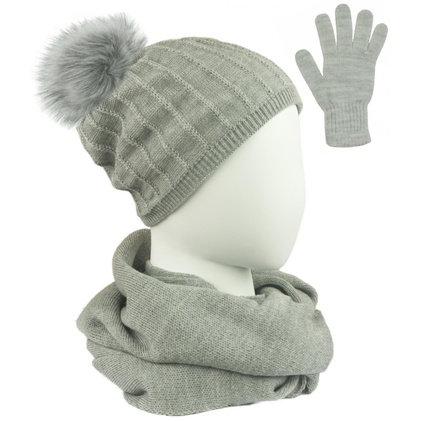 Komplet prążkowana czapka z pomponem, szalik komin i rękawiczki - popielaty