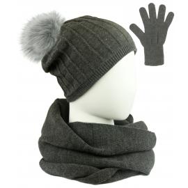 Komplet prążkowana czapka z pomponem, szalik komin i rękawiczki - grafitowy