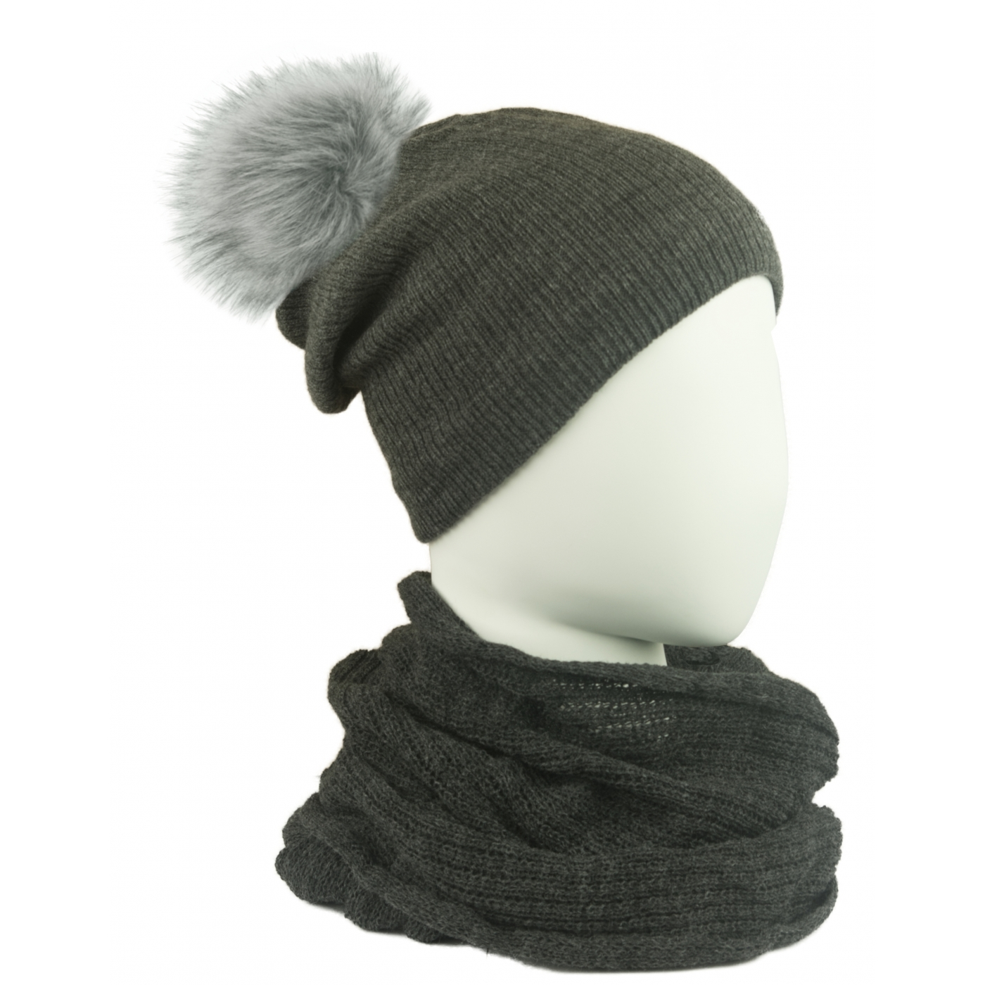 Komplet damski czapka na polarze z pomponem i komin - grafitowy szary