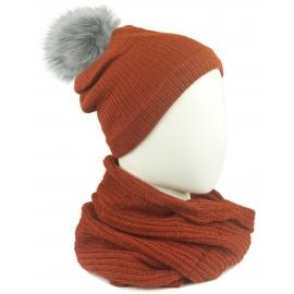Komplet damski Sally czapka na polarze z pomponem i komin - rudy pomarańczowy