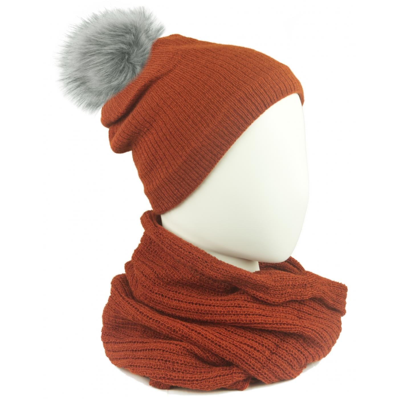 Komplet damski czapka na polarze z pomponem i komin - rudy