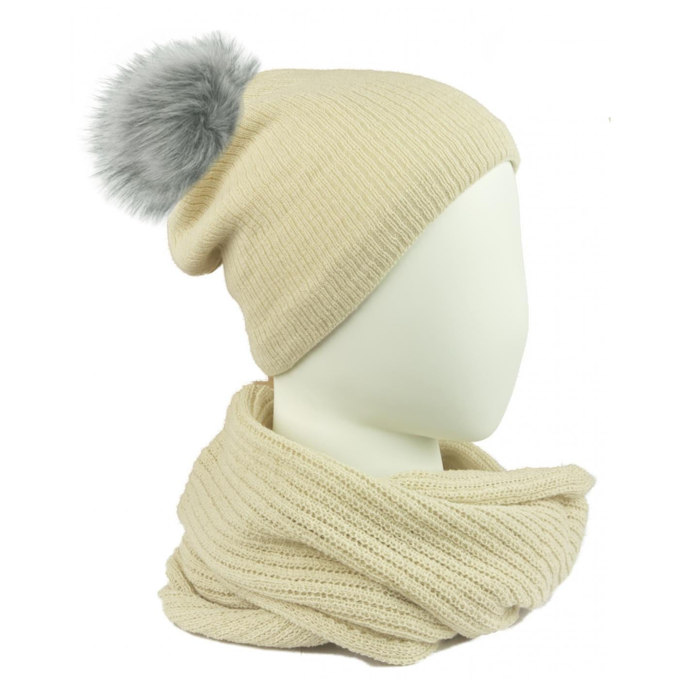 Komplet damski czapka na polarze z pomponem i komin - beżowy