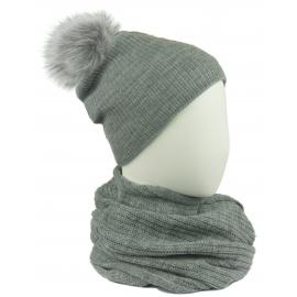 Komplet damski Sally czapka na polarze z pomponem i komin - szary popielaty