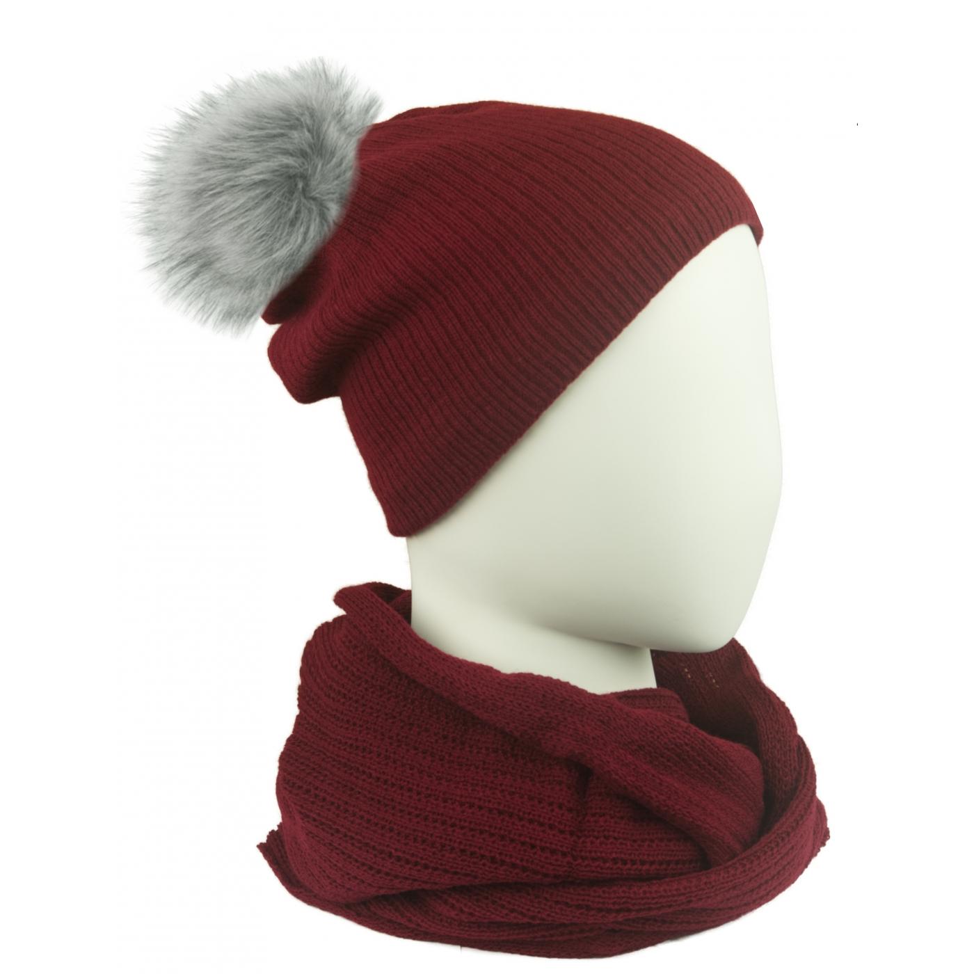 Komplet damski czapka na polarze z pomponem i komin - bordowy