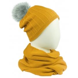 Komplet damski prążkowana czapka z pomponem i szalik komin - żółty