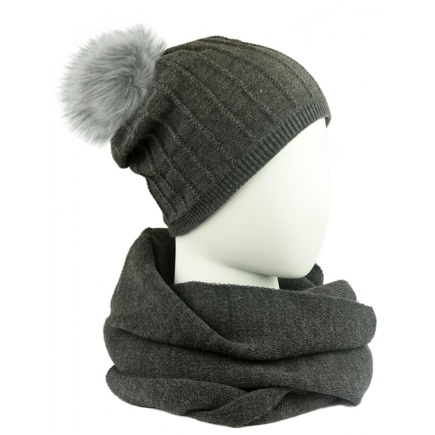 Komplet damski prążkowana czapka z pomponem i szalik komin - grafitowy