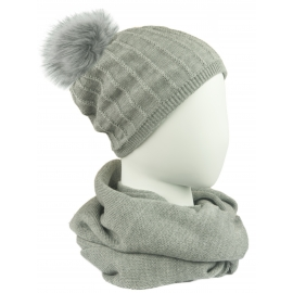 Komplet damski prążkowana czapka z pomponem i szalik komin - popielaty