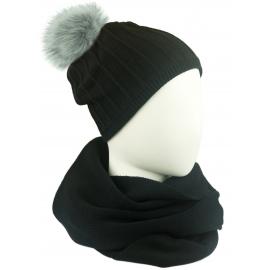 Komplet damski prążkowana czapka z pomponem i szalik komin - czarny