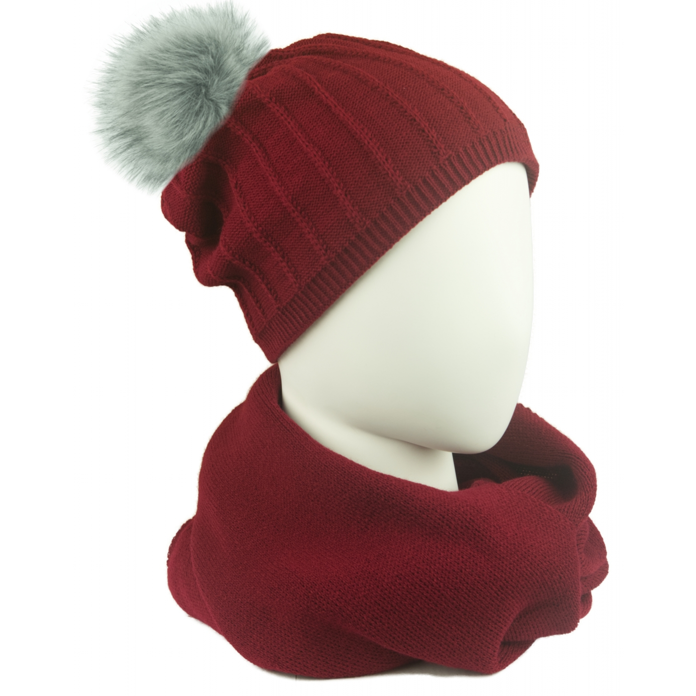 Komplet damski prążkowana czapka z pomponem i szalik komin - bordowy