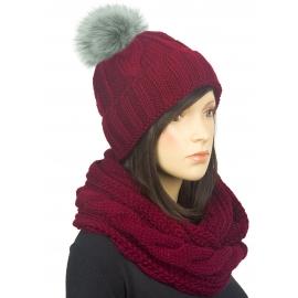 Komplet zimowy Lisa czapka damska z pomponem i szalik komin w warkocze - bordowy