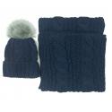 Komplet w warkocze czapka z pomponem i szalik komin: popielaty