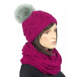 Komplet zimowy Hela czapka damska z pomponem i szalik komin - ciemny różowy