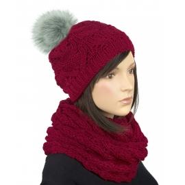Komplet zimowy Hela czapka damska z pomponem i szalik komin - bordowy