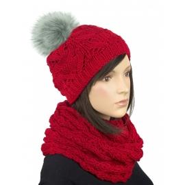 Komplet zimowy Hela czapka damska z pomponem i szalik komin - czerwony