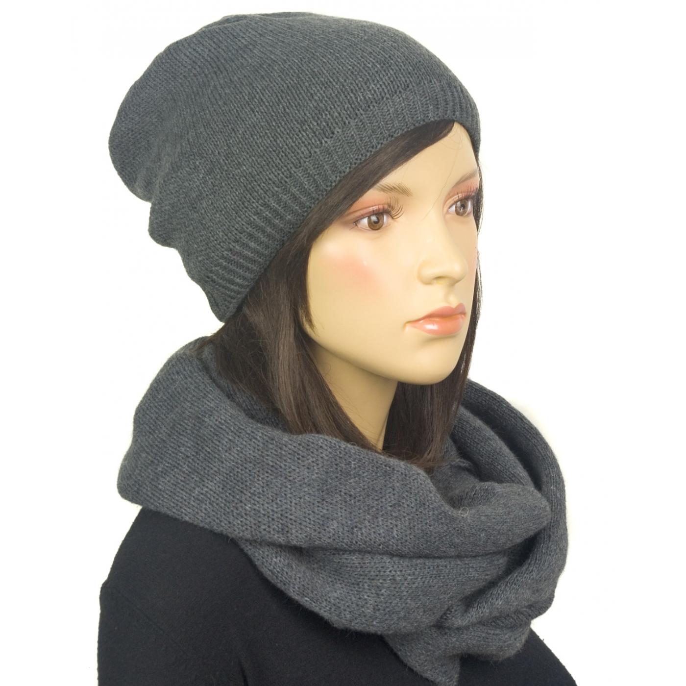 Komplet zimowy damski czapka i szalik komin - szary grafitowy