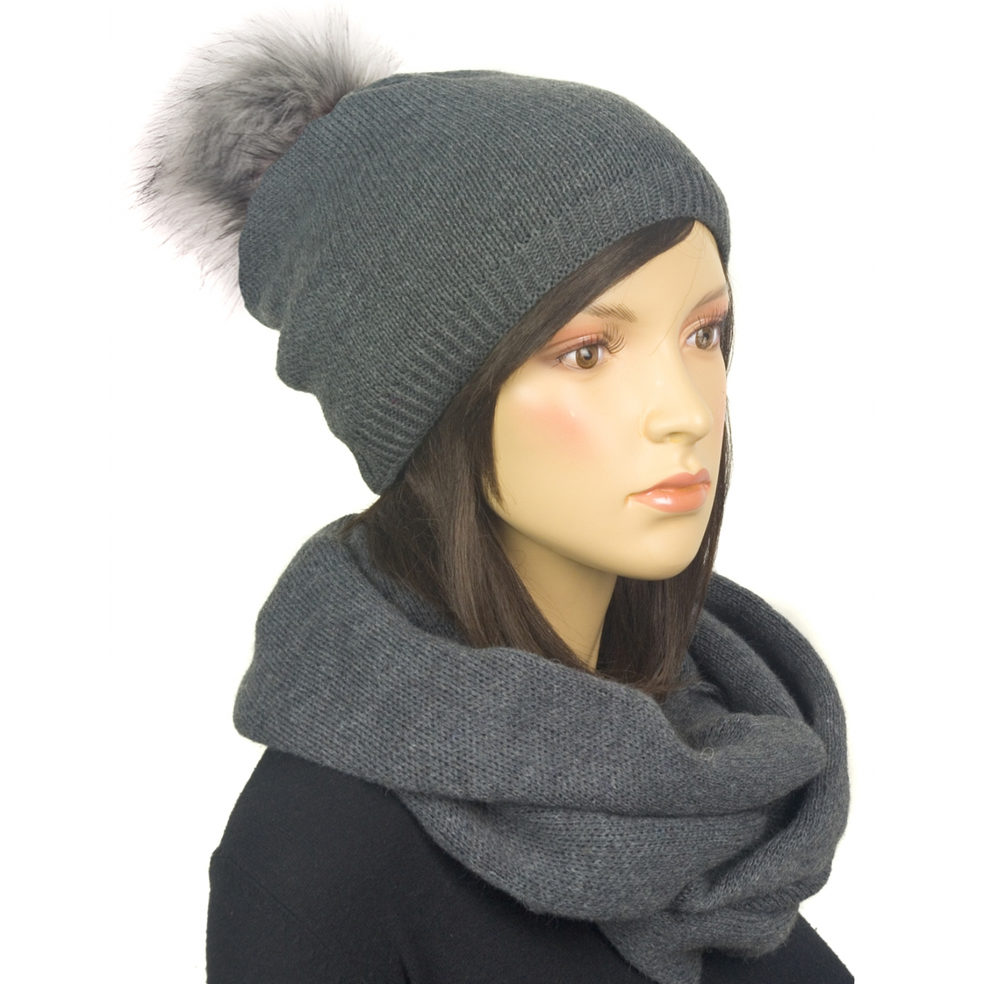 Komplet zimowy damski czapka z pomponem i szalik komin - grafitowy szary