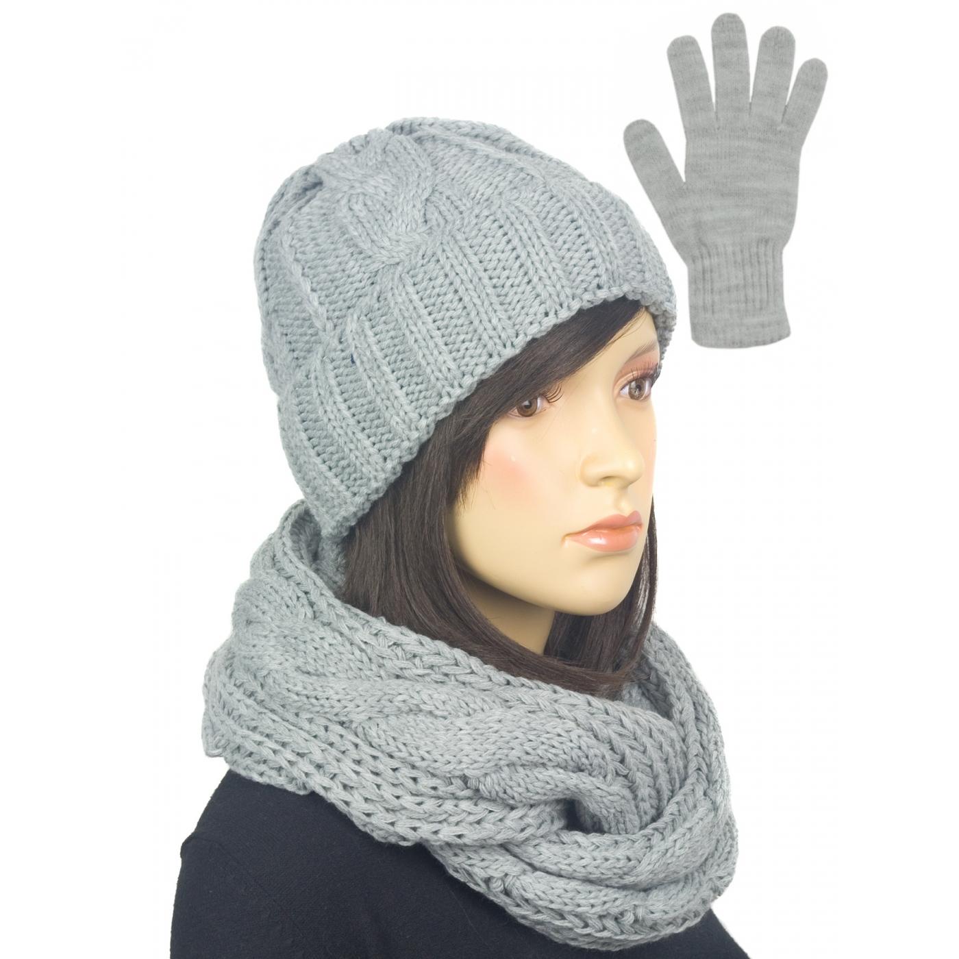 Komplet w warkocze czapka, komin, rękawiczki : szary