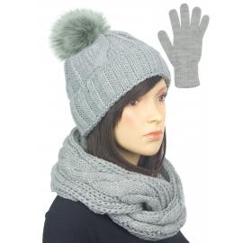 Komplet w warkocze czapka z pomponem, komin, rękawiczki : szary