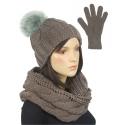 Komplet w warkocze czapka z pomponem, komin, rękawiczki : cappuccio