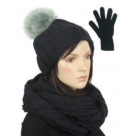 Komplet w warkocze czapka z pomponem, komin, rękawiczki : czarny