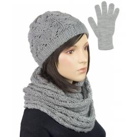 Komplet krótka czapka, szalik komin i rękawiczki : jasnoszary