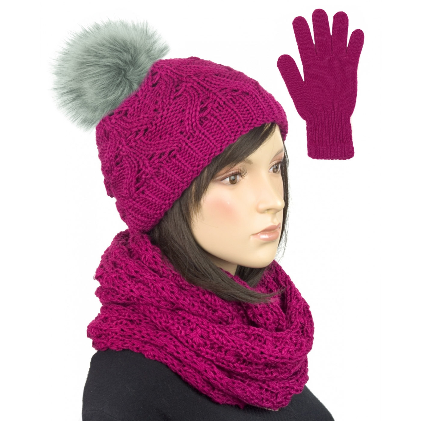Komplet - krótka czapka z pomponem, komin i rękawiczki : amarantowy