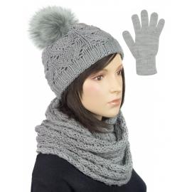 Komplet zimowy damski Hela czapka z pomponem, szalik komin i rękawiczki - szary
