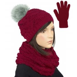 Komplet zimowy damski Hela czapka z pomponem, szalik komin i rękawiczki - bordowy