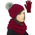 Komplet - krótka czapka z pomponem, komin i rękawiczki : bordowy