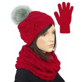 Komplet zimowy damski Hela czapka z pomponem, szalik komin i rękawiczki - czerwony