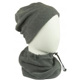 Męski komplet (XL) z polaru suprafleece czapka zimowa i szalik komin - szary