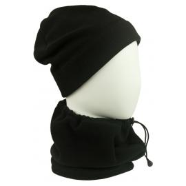 Męski komplet (L) z polaru suprafleece czapka zimowa i szalik komin - czarny