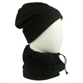 Męski komplet (XL) z polaru suprafleece czapka zimowa i szalik komin - czarny