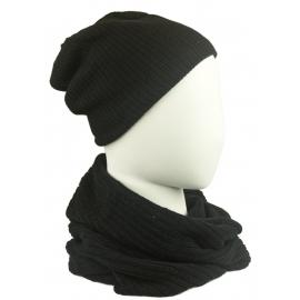 Komplet męski czapka na polarze i szalik komin: czarny